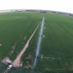 Aerial view 420m centre pivot applying 18mm in 24 hrs.